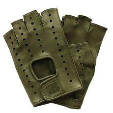 Перчатки без пальцев женские кожаные Edmins Э-Арт5 мод. 401 зеленый