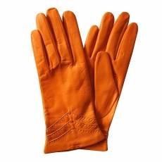 Перчатки женские кожаные на шелке Edmins Э-2L-1 мод. 229 оранжевый