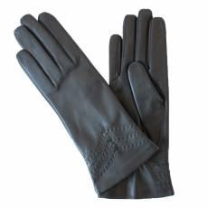 Перчатки женские кожаные на шелке Edmins Э-2L-1 мод. 229 черный