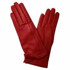 Перчатки женские кожаные на шелке Edmins Э-2L-1 мод. 250 красный