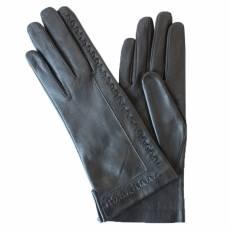 Перчатки женские кожаные на шелке Edmins Э-2L-1 мод. 250 черный