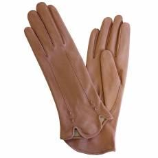 Перчатки женские кожаные на шелке Edmins Э-2L-1 мод. 487 розовый