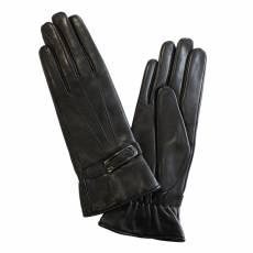 Перчатки женские кожаные на шелке Edmins Э-21L-1 мод. 141 черный