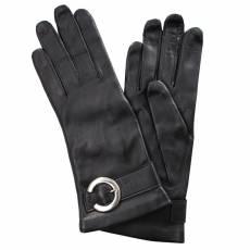 Перчатки женские кожаные на шелке Edmins Э-21L-1 мод. 192 черный