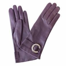 Перчатки женские кожаные на шелке Edmins Э-21L-1 мод. 192 фиолетовый