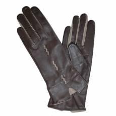 Перчатки женские кожаные на шелке Edmins Э-21L-1 мод. 278 коричневый