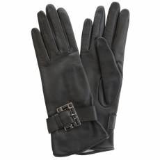 Перчатки женские кожаные на нат. шелке Edmins Э-Арт1 мод. 342 черный