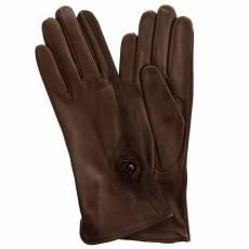 Перчатки женские кожаные на нат. шелке Edmins Э-Арт1 мод. 513 коричневый