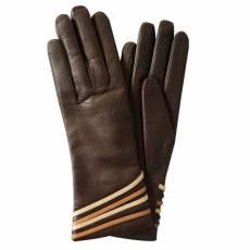 Перчатки женские кожаные на нат. шелке Edmins Э-Арт3 мод. 458 коричневый