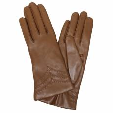 Перчатки женские кожаные на шерсти Edmins Э-2L мод. 229д коньяк
