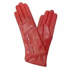Перчатки женские кожаные на шерсти Edmins Э-21L мод. 608 красный