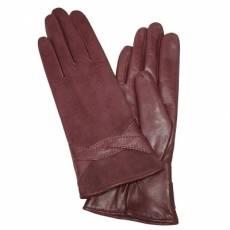 Перчатки женские кожаные на шерсти Edmins Э-21L мод. 619а вишня