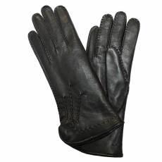 Перчатки женские кожаные на нат. меху Edmins  Э-22L мод. 14 черный
