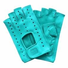 Перчатки без пальцев женские кожаные Edmins Э-Арт5 мод. 401 голубой