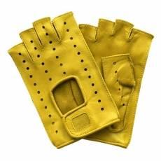 Перчатки без пальцев женские кожаные Edmins Э-Арт5 мод. 401 желтый