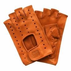 Перчатки без пальцев женские кожаные Edmins Э-Арт5 мод. 401 рыжий