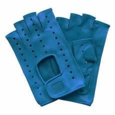 Перчатки без пальцев женские кожаные Edmins Э-Арт5 мод. 401 синий