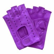 Перчатки без пальцев женские кожаные Edmins Э-Арт5 мод. 401 сиреневый