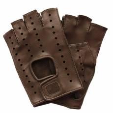 Перчатки без пальцев женские кожаные Edmins Э-Арт5 мод. 401 темно-коричневый