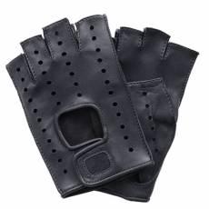 Перчатки без пальцев женские кожаные Edmins Э-Арт5 мод. 401 черный