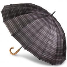 Зонт-трость Bugatti механический DOORMAN CHECK GREY 71762001BU