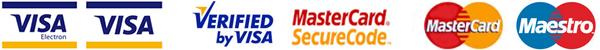 Оплата производится банковскими картами Visa, Visa Electron, MasterCard и Maestro
